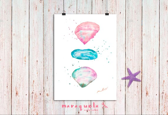 SHELLS mother of pearl illustration in Watercolor,home decor. Decoration ideas, homedecor, marine, sea, beach , gift bath, pink color wall