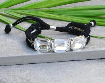 Adjustable Bracelet Swarovski Crystal Bracelet Leather Bracelets for Women Suede Bracelet Boho Leather Wrap Bracelet Statement Bracelet