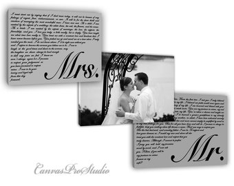 Amazin canvas Design Set of 3 Wedding Vows Canvas Print Art His and Hers and Promises, Mr and Mrs vows,Photo and First Song Lyrics on Canvas