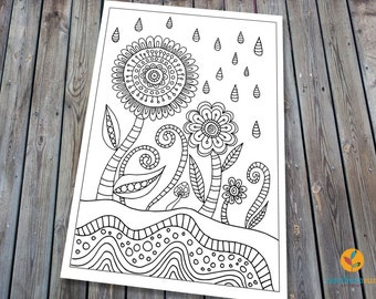 Flower Doodle Adult Colouring Page, Printable Colouring Pages Zen Doodle Art