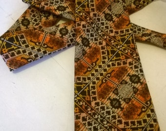 Retro mod tie, necktie, oranges and browns - by Tootal