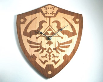 Hylian Shield Clock Wood Legend of Zelda