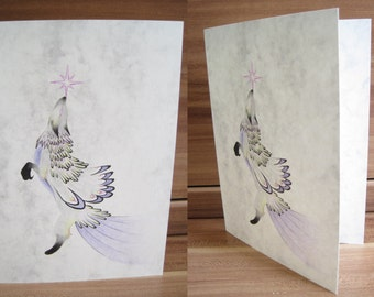 Handmade folded card (colored pencil, no print), greating card - fantasy, fox, wolf, feather, star