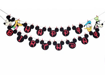 Mickey Mouse Happy Birthday Banner - Mickey Birthday Banner - Mickey Mouse Theme - Mickey Mouse Clubhouse - Mickey Mouse Birthday -Baby Boy