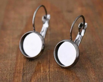 20pcs 10mm Bezel Hypoallergenic Surgical Stainless Steel Leverback Cabochon Drop Earring Settings For Sensitive Skin DIY Earrings Jewelry