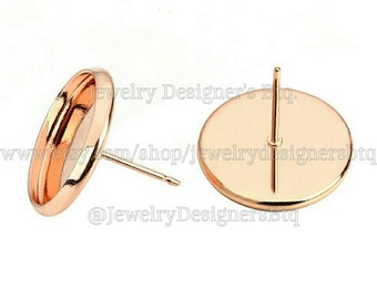 20pcs 10mm Bezel Rose Gold Cabochon Settings Stud Earrings Components Earring Blank Wholesale Jewelry Making Supplies Free Silicone Earnuts
