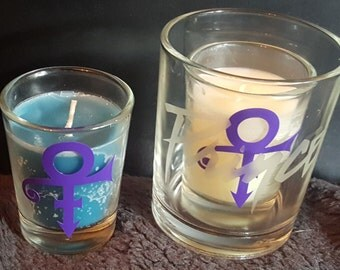 "Prince Rogers Nelson Sandblasted Etched 2.25"" Glass Votive Candle Holder with Candle"