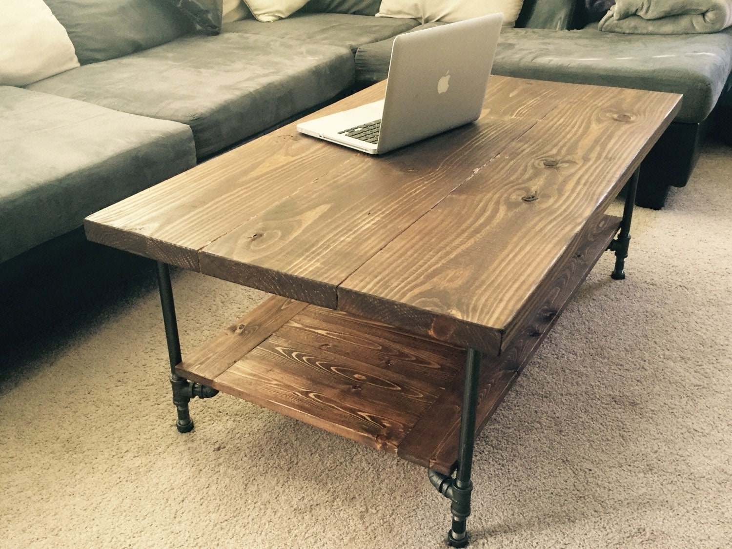 Large Industrial Rustic Wood Pipe Coffee Table