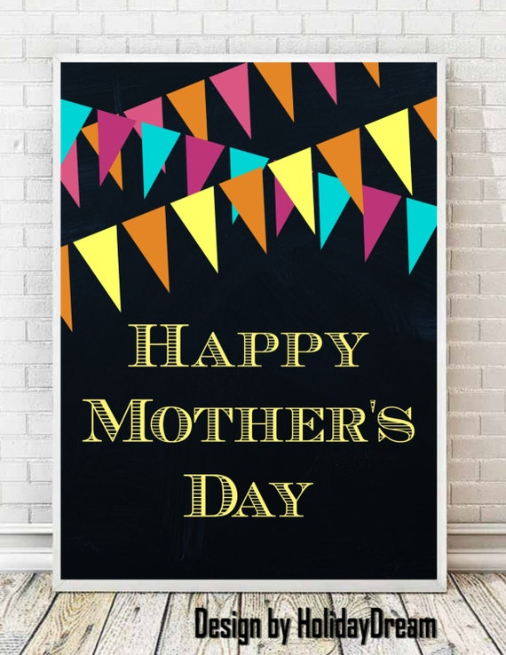 chalkboard happy mother 39 s day print happy mother 39 s by holidaydream. Black Bedroom Furniture Sets. Home Design Ideas