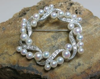 diamond white gold 14k pearl estate broach