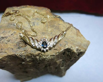 sapphire & diamond 10k yellow gold pendant necklace