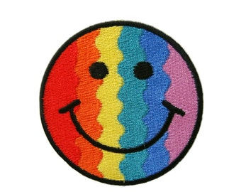 Rainbow Smiley Happy Smile Face Embroidered Applique Iron on Patch