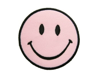 Pink Smiley Happy Smile Face Embroidered Applique Iron on Patch