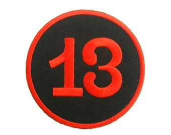 Number 13 Lucky Number Embroidered Applique Iron on Patch