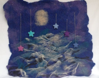 The Moon On Water, Nursery Wall Art, Felted Mural