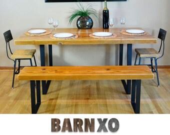 Reclaimed Dining Table Bench Combo - Endurovar Finish & Hairpin Leg Base - FAST Shipping