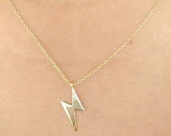 SALE... Tiny Gold Lightning Bolt Necklace, Dainty, Cute, Shiny Gold