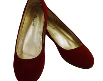Narrow Fit Red Velvet Hidden Wedge Ballerina Ballet Flat Shoes Secret Heel Lift UK Size 6 7