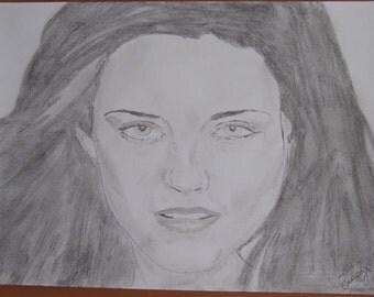 """dessin Portrait de star """"Kristen Stewart, twilight"""" crayon graphite"""