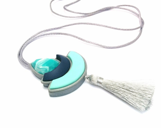 GREEN ENVY NECKLACE// Handmade polymer clay tassel statement necklace//Silver, aqua, navy and teal marble tassel pendant// #PN4049+