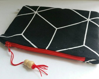 Make-up bag/ zipper pouch/  black and white, red zipper