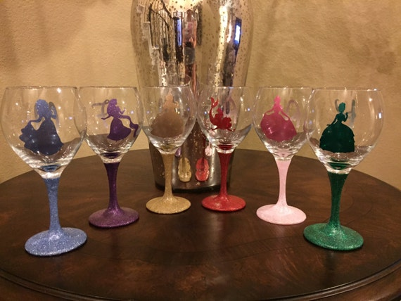 Items Similar To Get All 6 Glittered Stem Princess Wine