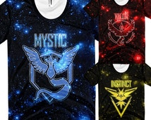 Pokemon Go Shirt Team Valor Team Instinct Team Mystic Galaxy Shirt T-Shirt All Over Print Shirt Women and Mens Sizes