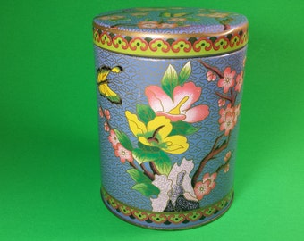 20% OFF Price Marked, Vintage Tin, Floral Asian Tin Container, Tin Canister, Tea Tin   #8
