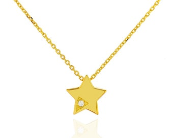 Star Necklace, Tiny Star Necklace, Small Star Necklace, Dainty Gold Necklace