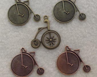 Bicycle charms penny farthing trike tricycle brass copper