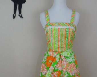 Vintage 1960's Floral Dress / 60s Neon Orange and Green Dress XS
