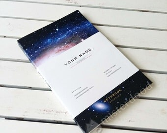 CUSTOM TITLE Journal, Blue Universe Notebook, Minimalist Endeavour, Beautiful Galaxy Stationery Paper Goods, Personalize Text, Black Hole