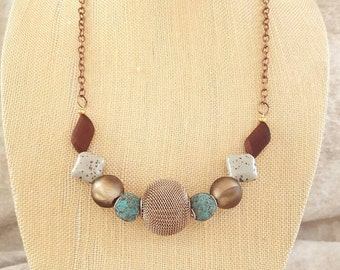 Copper,  Teal,  Brown necklace
