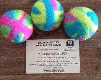 Felted Wool Rattle Ball Fluro Rainbow