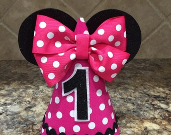 Minnie Mouse Birthday hat, pink, first Birthday, Minnie Birthday outfit, 1st Birthday