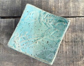 Turquoise Blue Mini Plate with Koi Imprint