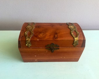 Wooden chest box with brass fittings storage box jewelry box