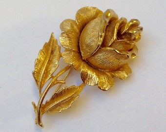 Vintage brooch~Gold rose brooch~Wedding~Bride~Prom