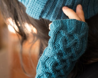 Mitaines celtiques - manchettes tricotées main - mitaines aran - mitaines points irlandais - mitaines en mérinos - mitaines à torsades