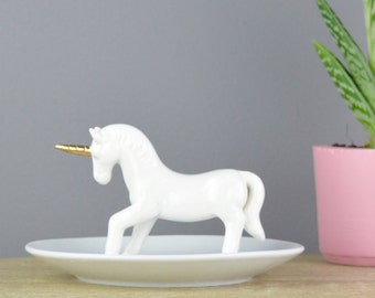 Unicorn Ring Stand - Jewellery Dish - Personalised Unicorn - Ring Dish - Ring Stand - jewellery dish - unicorn lover - white jewellery stand