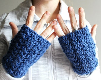 crochet fingerless gloves in SAPPHIRE BLUE (vegan friendly)