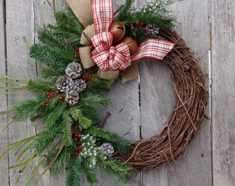 Christmas Wreath, Holiday Wreath, Winter Wreath, Front Door, Country Christmas, Grapevine Wreath, Jingle Bells, Sleigh Bells, Plaid Ribbon
