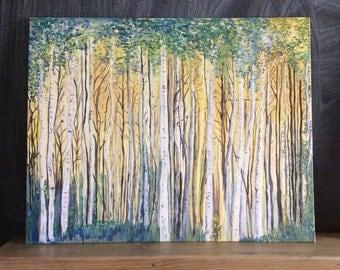 Original painting art work. Silver birch. Wall Art. Uk shop