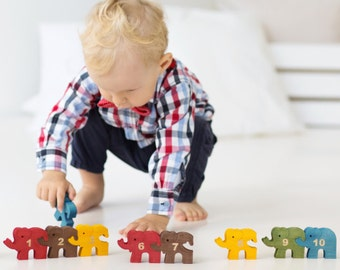 Wooden Elephants Puzzle with Numbers, Educational Toy for Children, Montessori Toy, Jigsaw Puzzle, Handmade Toy, Toddler Christmas Gift Idea