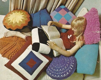 Pillow Talk Knitting Pattern Vintage 1970s Lady Galt Leaflet 1013 Simple Instructions to Knit or Crochet Round or Square Mod Pillows