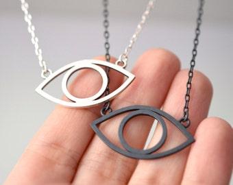 Evil eye necklace in sterling silver - nickel free necklace - gothic necklace / gift for BFF / gift for friend / third eye necklace