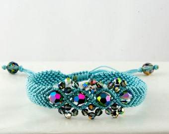 Blue Macrame Bracelet - Crystal