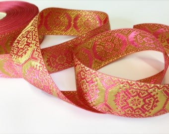 Pink and Gold ribbon, polyester and lurex, reversible, 1.5 inches wide, offering in 4 yard lots, 6 lots available.