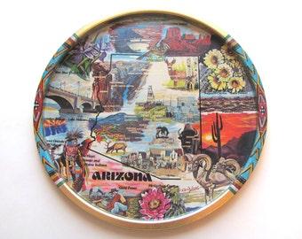Vintage 70s Ken Haag Arizona Map Serving Tray