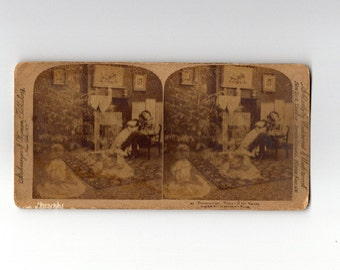 stereoview card of young couple imagining the kids they will have